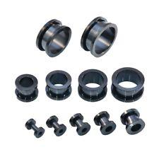 SCREW ON 316 Stainless Steel Metal Ear Flesh Tunel Plug - BLACK 3mm - 30mm