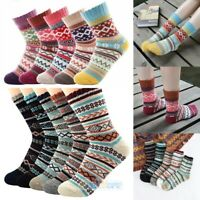 1-5Pairs Women/Men Winter Extra Warm Thick Wool Knit Crew Socks Vintage Style