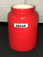 """Hall RADIANCE* CHINESE RED* 7 1/2"""" - 2 QT* SUGAR CANISTER*"""