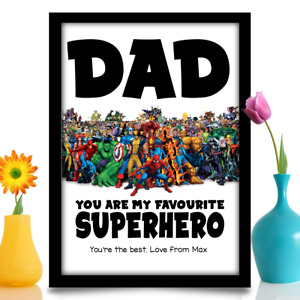 Birthday gift for Dad Daddy Stepdad Personalised superhero A4 Poster print