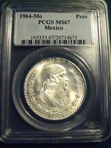 MEXICO 1964 PESO PCGS MS 67! TOP POP! LOW MINTAGE!