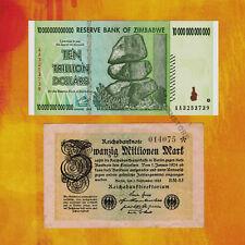 20 Million German Marks Banknote 1923 + 10 Trillion Zimbabwe Dollars 2008 Set