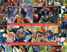 Madagascar 2018 MNH Superheroes Superman Spiderman Batman 4v M/S Comics Stamps