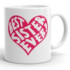 Best Sister Ever Pink Heart Coffee Mug Tea Cup Cute Gift for Sister Siblings Sis
