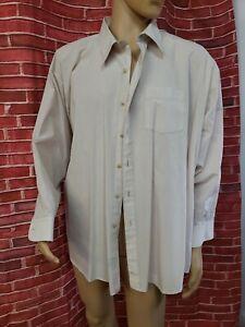 Oleg Cassini DESIGNER Long Sleeve Button Shirt Mens XXL Ivory Big 20 32/33 #C