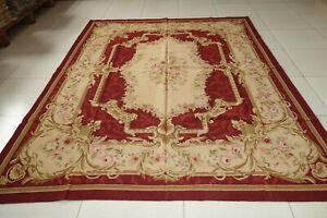 Antique Dark Red Hand Woven Wool Aubusson Rug Vintage Swirls Subtle Pink Rose