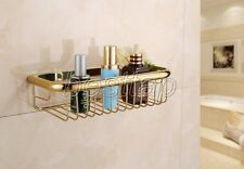 30cm Gold Polished Brass Wall Mounted Shower Shelf Caddy Basket Storage sba095