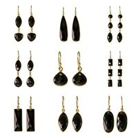 925 Solid Sterling silver gold polished Black onyx drop and dangle earrings