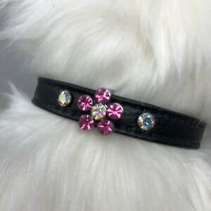Dog Rhinestone Collar - Bling Sparkle Pink Flower - Made in USA - Black 6-8""