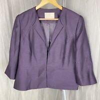 JACQUES VERT Purple SIZE 16 UK Smart Blazer 3/4 Sleeve Formal Jacket