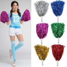 2Pcs Metallic Cheerleader Cheer Cheerleading Dance Party Dress Pom Poms Xmas MO