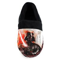 Disney Star Wars Toddler Boys Size S M Black Red Darth Vader Comfy Slippers NEW