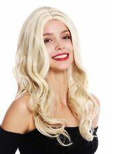 Peluca de Mujer Mujer Largo Raya en Medio Ondulado Rubia Platino Mecha cf79623e9426