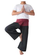 Handmade Thai Fisherman Pants Yoga Backpacker Trousers 2 Tone Red and Black