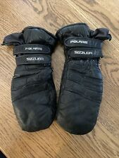 Vtg Polaris Snowmobile Mittens Mens L Leather Black Warm Winter Insulated