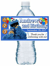 20 COOKIE MONSTER SESAME STREET BIRTHDAY PARTY FAVORS ~ WATER BOTTLE LABELS
