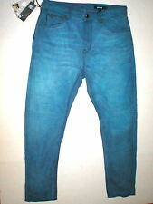 New NWT 32 x 29 Mens Designer Jeans Just Cavalli Italy Slim Blue Logo Button Fly