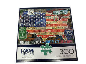 BUFFALO PUZZLE TRAVEL THE USA 300 PIECES license plates Large Pieces