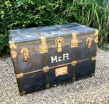 SUPERB LARGE ANTIQUE STEAMER STYLE SHIPPING TRUNK WITH ORIGINAL LABELS