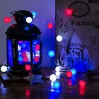 Red White and Blue Fairy Lights Olympic Patriotic String Lights Bulb Shape