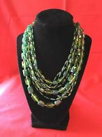 Fashion Vintage 9 Strand Green Toned Lucite  1950-60's