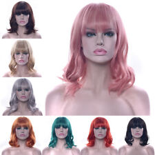 Short BOB Hair Wigs for Women with Neat Bang Synthetic Full Wigs Cosplay Party