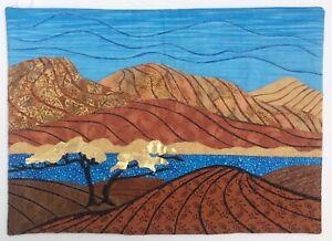 Utah Landscape Art Quilt Blue Brown Gold Wall Hanging
