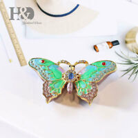 Butterfly Figurine Collectible Trinket Box Bejeweled Hand-Painted Ring Hold Gift
