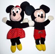 "2 Vintage Disney Mickey & Minnie Mouse 7"" Plush Toys Applause Wallace Berrie"