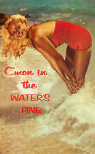 s16401 C'mon in the water's fine, blond girl in surf postcard *COMBINED SHIPPING