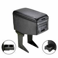 Universal Black Car Armrest Arm Rest Centre Console Leather Box Cup Holders