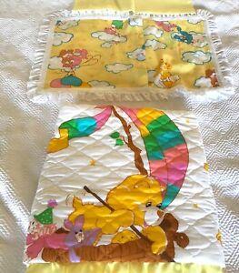 Vintage Care Bear  Child Crib Quilt Rainbow bear & Pillow Sham New Unused