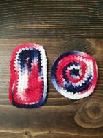 Miniature Dollhouse Hand Crochet Rugs Kitchen Living  Room Red White and Blue