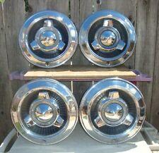 "Set of 4 1965 Dodge Polara 14"" hubcaps PLUS TRI SPINNERS Vintage COOL"