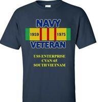 USS ENTERPRISE CVAN-65 VIETNAM CAMPAIGN RIBBON VINYL & SILKSCREEN  SHIRT/SWEAT