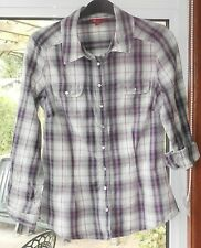 Monsoon - Ladies Purple & White Check Long Sleeve 100% cotton Shirt - Size 8