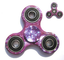 Purple Galaxy Tri-Spinner Fidget Toy EDC Hand Gyro ADHD Focus Anti Stress 3D Cam