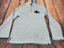 Adidas San Jose Sharks NHL Hockey Pullover 1/4 Zip Sweater Men SZ M $90