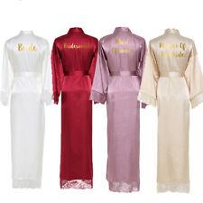 Silk Satin Lace Robes Bride Robe Bridesmaid Robes Wedding Long Robe Bathrobe