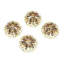 ML5123f Filigree Open Flower 12mm Gold-Plated Brass Round Bead Caps 50/pkg