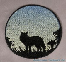 Embroidered Wild Coyote Sunrise Silhouette Ombre Circle Patch Iron On Sew On USA