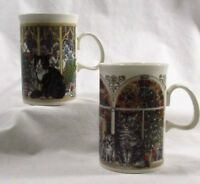 Set of 2 Dunoon Holiday Cat Coffee Mugs Tea Cups 10 oz