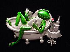 """""""JJ"""" Jonette Jewelry Silver Pewter 'DIVA Frog in Bathtub' Pin"""