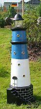 LEUCHTTURM BÜSUM SYLT 120 cm blau weiß DOPPELLICHT Garten Deko Figur NORDSEE