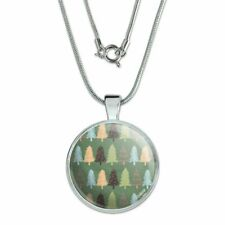 """with Sterling Silver Plated Chain Spunky Christmas Trees 1"""" Pendant"""