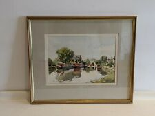 Framed Watercolour Painting Castle Wharf Berkhamsted Raven's Lane Hertfordshire