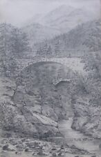"FREDERICK BENNETT BRITISH PENCIL ""TWO STONE BRIDGES IN SWISS ALPS"" 1872"