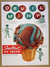 1954 Sealtest Devil Mint Ice Cream icecream cone photo vintage print Ad