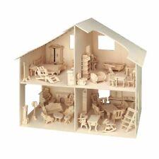 PEBARO Holzbausatz Puppenhaus mit Möbeln