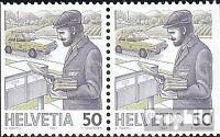 Schweiz 1343Dl/Dr waagerechtes Paar (kompl.Ausg.) gestempelt 1987 Postbeförderun